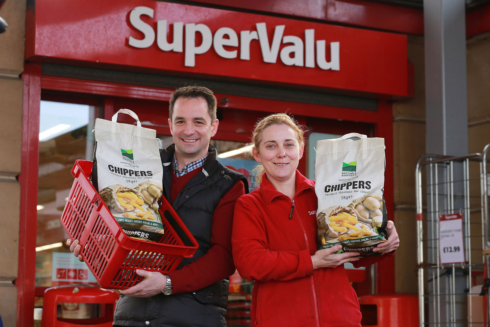 Pictured launching the new Nature's Harvest Chippers at SuperValu Supermarket, Coalisland are, from left, Barry McCormack, director, McCormack Potato with Brenda O'Neil, assistant store manager.